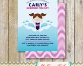 Pool Party Invitation- GIRL, pool party, birthday party, DIY, printable