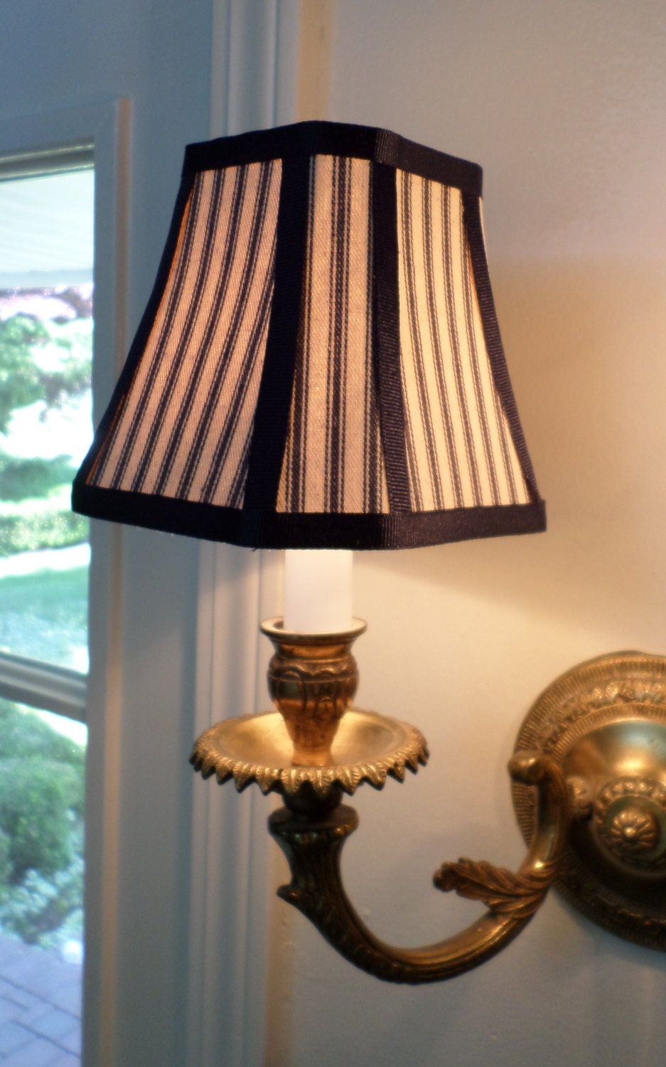 French Country Or Country Chandelier Shade In A Blue Pillow