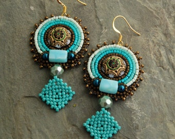 Artemis - Bead Embroidered Tribal Vegan Earrings, Large Turquoise and Bronze Beaded Earrings, Gold Plated Earwires