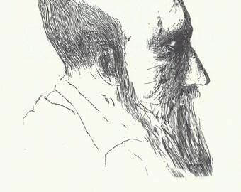 Black and White Print, Mid Century Modern Art, Etching, Portrait, Leonard Baskin, Jewish Artist, 1960s Art, Monticelli, Merrian