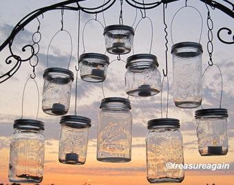 DIY Lanterns Hangers Wide Mouth Mason Jar Lanterns Lids 10 Outdoor Wedding Candle Holders, Flower Vases, Original DIY Hanger Lids, No Jars