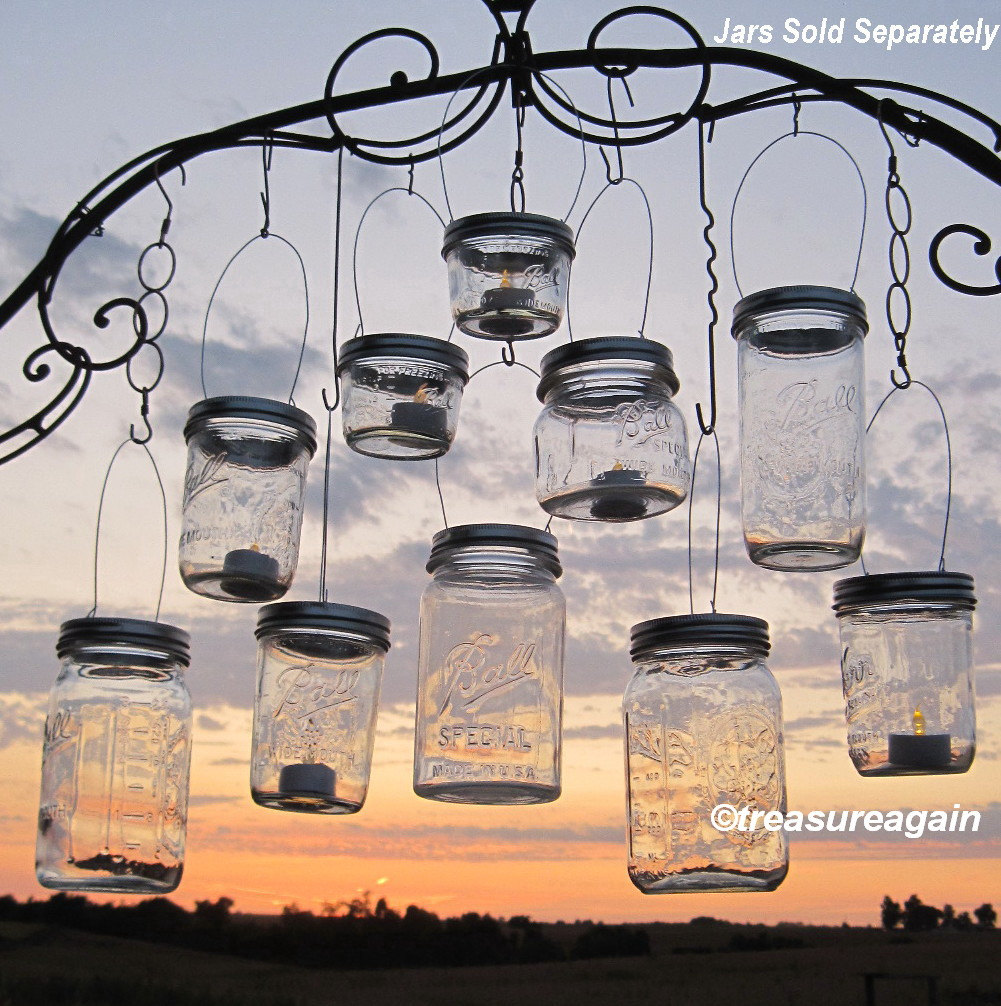 diy lanterns hangers wide mouth mason jar by treasureagain. Black Bedroom Furniture Sets. Home Design Ideas