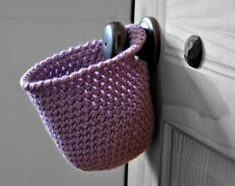Orchid Hanging Storage Basket Office Organizer Doorknob Purple Catchall Crocheted Decor Supply Holder