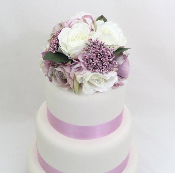 Silk Flower Wedding Cake Toppers: Wedding Cake Topper Lavender Mauve White Rose Silk Flower
