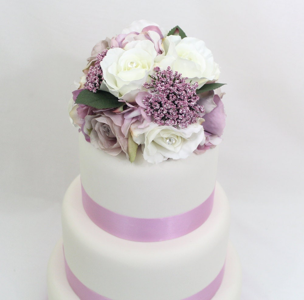 Stairway Decorated With White Tulle And Red Silk Roses: Wedding Cake Topper Lavender Mauve White Rose Silk Flower