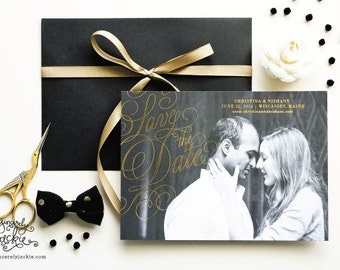 SAVE THE DATE - Gold Foil Photo Save the Date Cards - Heirloom Wedding Invitations by Sincerely, Jackie