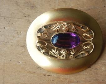 Edwardian amethyst glass sash pin ∙ 1900s gilt brooch