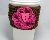 Big Button Flower crochet coffee cozy - handleless for disposable cup