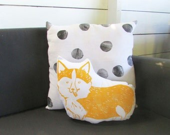 Plush Corgi Dog Pillow. Hand woodblock printed. Choose ANY Color. Made to order