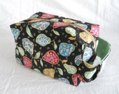 Large Project Box Bag - Black and Metallic Multicolored Pears with Spring Green Lining