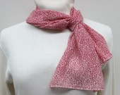 Pink and White Print Poly Chiffon Scarf