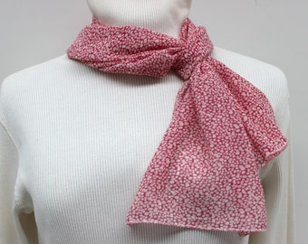Pink and White Print Poly Chiffon Scarf