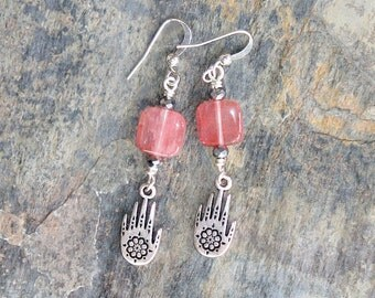 Silver Hamsa Earrings, Pink Earrings, Middle Eastern Earrings, Strawberry Quartz Earrings, Beaded Earrings, Natural Stone Earrings, Handmade