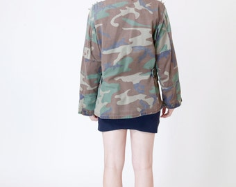 Camo Army Jacket with Silver Spiked Shoulder Studs