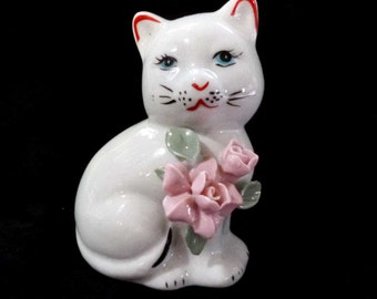 Vintage White Cat With Pink Roses Figurine