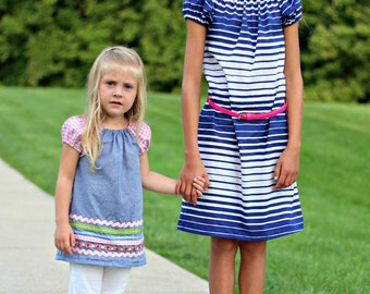Flutterby Peasant Dress/Top - nb - 12yrs -  PDF Pattern - By LittleKiwisCloset