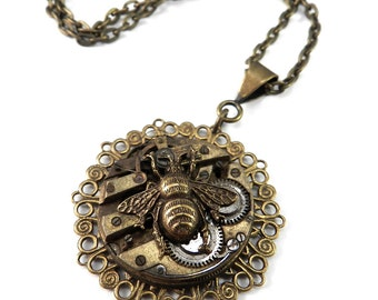 Steampunk Necklace, Clockwork Honey - Bee on Time - Mechanical Watch Movement Pendant - Brass, Steampunk Jewelry by compassrosedesign
