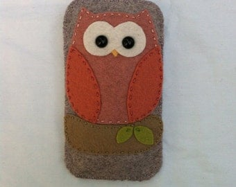 wool felt pink and brown owl cell phone case - iphone 4, iphone 5, iphones 6, iphone 6 plus, android, samsung galaxy s4 s5 s6
