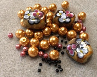 Autumn Caramel Floral - Lampwork Glass and Glass Pearls - Bead Mix