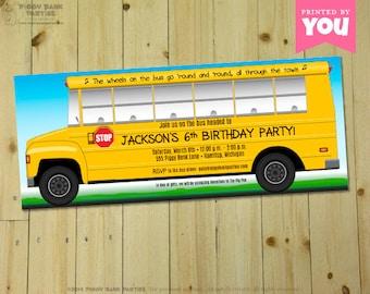 SCHOOL BUS Invitation : DIY Printable Wheels on the Bus Party Invite // Back to School Invitation // Yellow School Bus // School Bus Driver