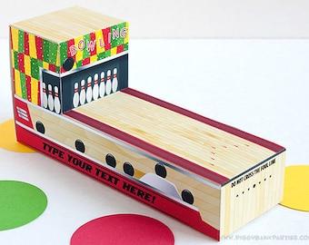 Bowling Lane Favor Box - Red, Green & Yellow  : DIY Printable Bowling Alley Gift Box PDF | Bowling Pin | Bowling Ball | Instant Download