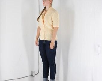 ON SALE Light Yellow Polka Dot Blouse / Low Pleated Collar Shirt / Summer Light Top