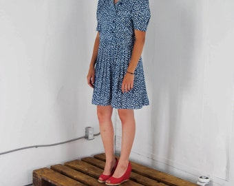 ON SALE Navy Floral Dress / Midi Pleated Dress / Spring Short Sleeve Dress