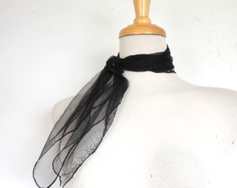 1 Vintage 1960s Scarf // 60s Sheer Black Nylon Rockabilly Neck and Hair Scarf