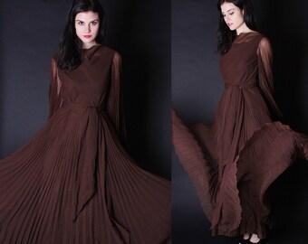 Mollie Parnis Dress - Long Brown Dress - 1970s Maxi  Dress  - Designer 70s Dress  - Vintage Sheer Dress - 2688