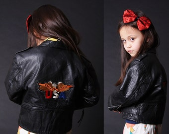 Harley Davidson Leather Jacket - Black Motorcycle Jacket - Kids Leather Jacket - American Eagle - 2695