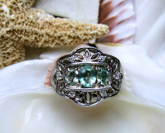 14k Natural Paraiba Tourmaline And Diamond Ring White Gold Sz