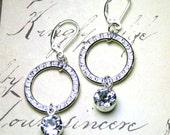Rhinestone Hoop Earrings - Swarovski Crystal Halo and Crystal Drop Earrings -  Sterling Silver Leverbacks