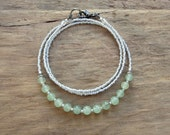 Mint Green & White Necklace. dainty pale green aventurine jewelry with tiny white seed beads, perfect for layering