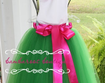 green flower girl tutu,  flower girl dress, tulle flower girl dress,  hot pink flower girl dress