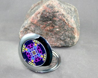 Daisy Compact Mirror Pocket Mirror Boho Chic Mandala New Age Sacred Geometry Hippie Kaleidoscope Unique Gift For Her Mod Mystical Musing