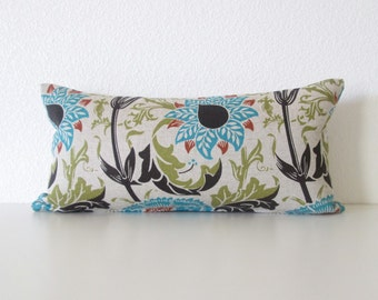 Mingei floral turquoise black green  8x16 mini lumbar pillow cover