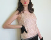 Vintage 1950s Sequined Shell Top / 50s Pink Top with Beaded Fringe