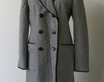Vintage Donna Karan New York Houndstooth Coat 1990s