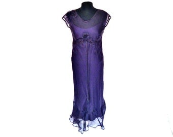 VIntage 90's Sheer Layered Royal Purple Bodycon Dress with Flower at Bust by Bellomo Women's Small