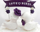 Wedding Cake Topper Love Birds, Plum and Ivory, Personalized  Banner - Bride and Groom Keepsake