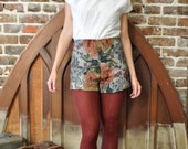 Vintage Inspired Pin-up Style High Waisted Floral Upholstery Shorts - custom color and size