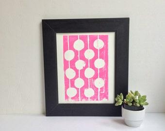 Modern Childrens Decor Pink and White Print Linocut Art 8 x 10 Polka dot kids
