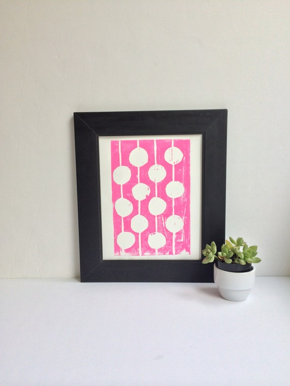 Modern Childrens Decor Pink and White Print Linocut Art 8 x 10 Polka dot kids