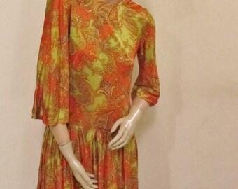 60s/70s Mod Mini orange paisley print dress