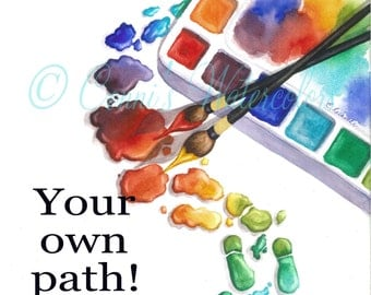 Paint Your Own Path Watercolor Print Painting Artist Gift Paint Brush Palette Footprints Whimsical Art Poster Studio Decoration
