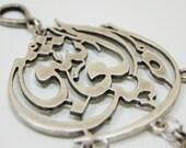 Mevlana Calligraphy Wall Hanging Amulet Handmade Turkish Silver Plated Evil Eye Bead