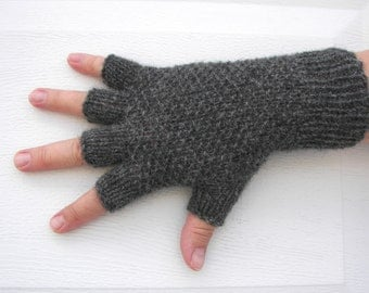 HAND KNIT Half Finger GLOVES in Soft Peruvian Wool Grey Charcoal; Burgundy Red; White; Black / Seed Knit Stitch Gloves