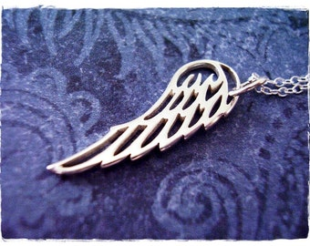 Silver Filigree Angel Wing Necklace - Sterling Silver Filigree Wing Charm on a Delicate Sterling Silver Cable Chain or Charm Only