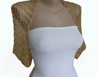 Bridal Bolero, Knit Gold Bolero Shrug Sleeves Jacket, Wedding Bolero,  S-M ,Wedding shrug, Weddings, Bridal Cover up, Bridal Jacket