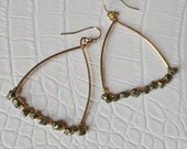 Pyrite Triangular Hoop Earrings, Jewelry, Gold or Silver, Womens